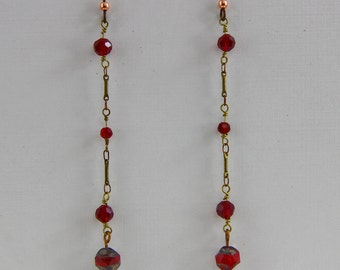 Hand Assembled Vintage Chain Earrings 4 inch Length Red Gold  Brass on Niobium Hooks