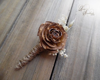 Rustic Cedar Rose Boutonniere with twine wrapped stem.