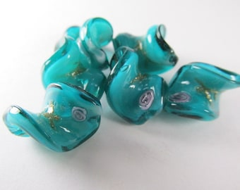 5 Green Teal Turquoise and Pink Rose Lampwork 20mm x 15mm Twist Glass Jewelry Beads