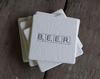 BEER Scrabble tile Coasters, (Letterpress printed, 3.5 inches) set of 8, perfect gift for home brewer or beer lover