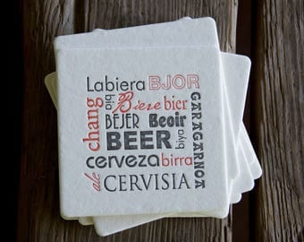 BEER language Coasters, modern design (Letterpress printed, 3.5 inches) set of 8, perfect gift for home brewer or beer lover