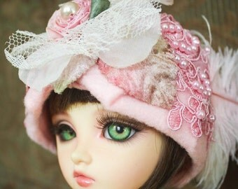 Adorable Pink Beaded Cloche Hat For Ball Jointed Dolls and Blythe