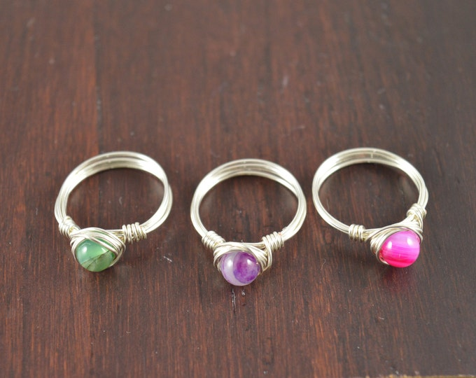 Colorful Agate Gemstone Wire Ring