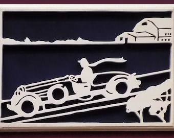 Vintage Car Downhill Racer Countryside Victoriana Hand Cut Wood Picture