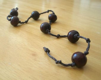 Just Breathe - Meditation Chain with Rosewood Beads and Hemp Cord - Meditate, Counting Breath, Worry Beads Meditation Tool
