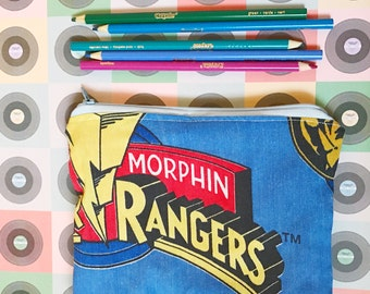mighty morphin power rangers vintage style logo zipper closure pencil or make-up bag black ranger