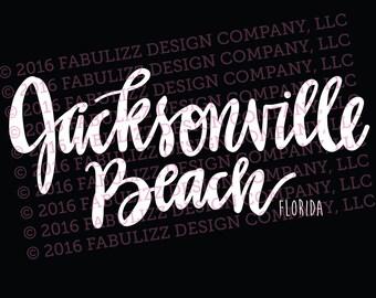 "White Vinyl Decal  - ""Jacksonville Beach"" Florida"
