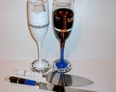 Marine Bride and Groom Wedding Dress and Uniform Hand Painted Champagne Flutes Army Navy Air Force Toasting Flutes & Cake Knife and Server