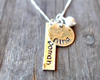Mother's Necklace - Personalized Jewelry - Name Jewelry - Mom Necklace - Hand Stamped