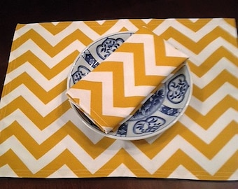Custom PLACEMATS Set of 4 Cornflower Gold CHEVRON