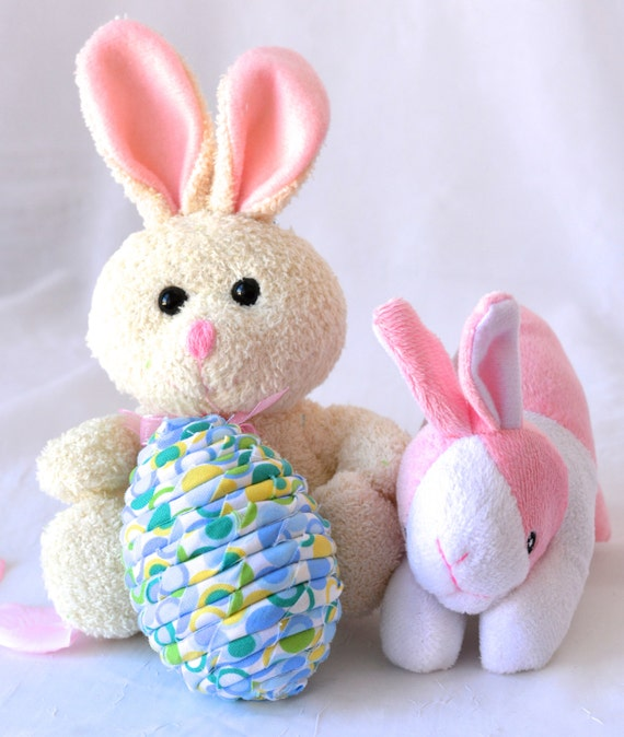 Sale... Easter Basket Filler, Handmade Blue Easter Egg Ornament, Easter Egg Hunt, Hand Coiled Fiber Easter Egg, Fun Blue Easter Egg