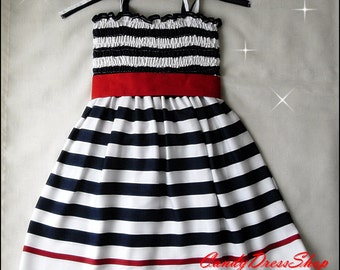 Navy blue and white striped dress, Girls navy and white dress - Patriotic dress for girls - 4th of July dress - (Sizes 12 months to 8 years)