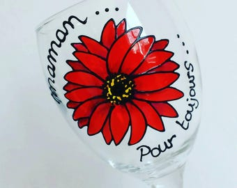 Gerbera, (Maman pour toujours) handpainted wine glass