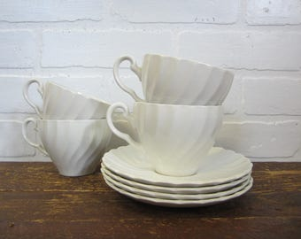 Four Sets of Johnson Brothers Snowhite Regency Classic White Ironstone Tea Coffee Cups and Saucers