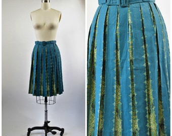 "1950s Pleated Skirt Blue and Yellow Stripe with Paisley Inverted Pleated Skirt Size Small 26"" Waist"