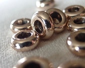 15pc Non-tarnish gold plated Rondell 9mm Donut Spacer Beads, 9mm x 3mm, 4mm hole, pkg 15 pieces