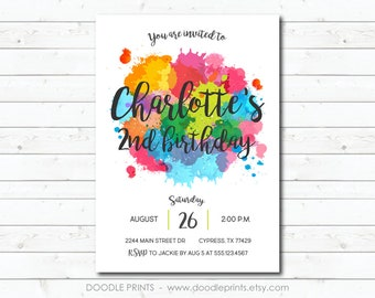 Art Invitation, Paint Party Invitation, Printable Birthday Invitation, Art Birthday Party, Rainbow Art Party, Watercolor Splash Paint Card