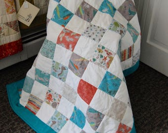 FREE SHIPPING, Under the Ocean Blue, Baby Quilt, Lap Quilt, Nautical Quilt, Organic Cotton