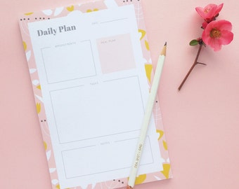Modern Florals Daily Plan Note Pad | Daily Planner | Day Planner Notepad | Organizational Tools