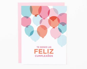 Spanish Birthday Greeting Card | Te Deseo un Feliz Cumpleaños | Birthday Balloons | Happy Birthday