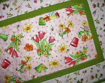 Spring Table Runner, floral, Summer, quilted table runner, handmade, focus fabric from Red Rooster