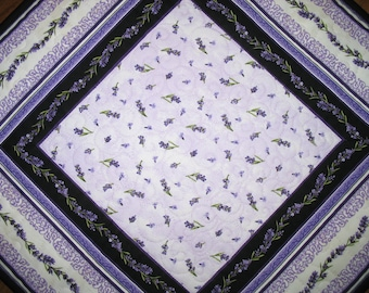 Lavender Table Topper Quilted, violet tones. Handmade, quilted table runner, floral lavender, handmade