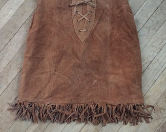 SALE Sexy VINTAGE 1970s 70s Brown Suede Leather MiNi Midi Skirt W Corset Fringe