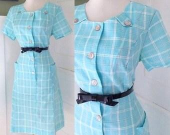 VINTAGE 1940s 1950s 1960s Robins Egg Blue Plaid Hepburnish Wiggle Party Day Shirt Dress