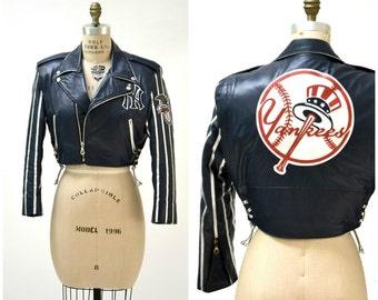 Vintage Leather Jacket New York Yankees Motorcycle Jacket By JH Leather Designs Jeff Hamiton Medium// Vintage Yankees Jacket Baseball Biker