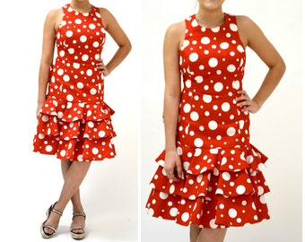 80s does 50s Vintage Party Dress Red Polka Dots by Lillie Rubin// 80s Red Prom Dress Red and White Polka Dot Dress with Ruffles Small Medium