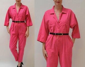 ON SALE Vintage Diane Von Furstenberg Jumpsuit Size Medium Bright Pink Fuchsia // 80s Vintage Cotton Jumpsuit Pantsuit size Medium PINK By D