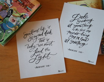 Adventure Time Set, BMO, Jake the Dog, Math, Science, Courage, Typography Print, Hand lettered Quote, 8x10 Print