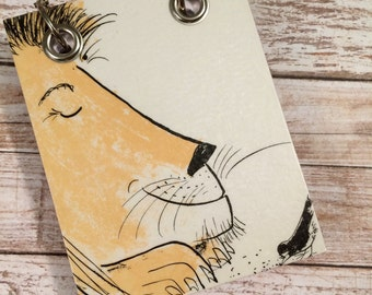 Recycled Notebook - Small Refillable Notepad - Upcycled Children's Book - Lion and Bird - Animal Note Book
