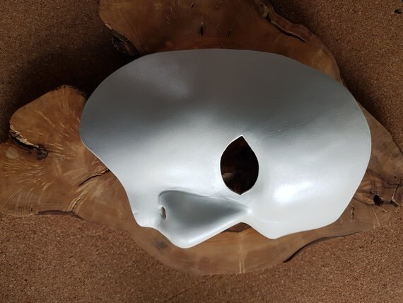 Shaun -Phantom of the Opera Leather Mask White Pearl Mask Stage Theatre Opera Half Face Courture Masquerade
