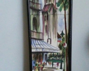 Arnart French Painting Ceramic Tiles of Paris by Renee