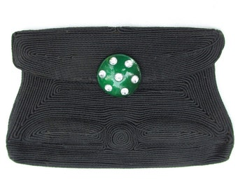 1940s Corde Clutch Purse with Green Lucite and Rhinestone Clasp VINTAGE Mid Century