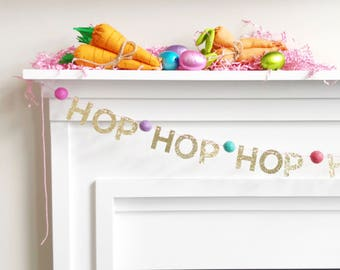"""3 Options - """"SPRING,"""" """"BLOOM,"""" or """"HOP"""" - Mini Spring Gold Glitter Letter Garland with Felt Balls - 2 Color Themes available for felt Balls"""