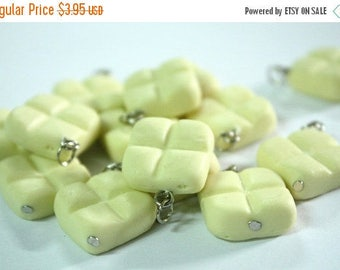 Miniature Polymer Clay Foods Supplies White Chocolate for Beaded Jewelry Charm, 4 pcs