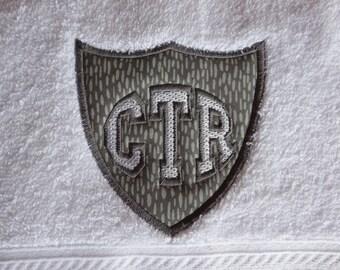 CTR Applique Towel  - Grey Dash Fabric