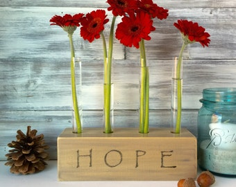 Test tube flower vase, HOPE, farmhouse decor, unique gift, wood block, rustic, gray brown,
