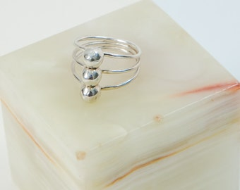 Triple Ball Ring Sterling Silver