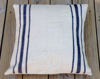 Dark Blue Striped Burlap Pillow Cover/Textured Grain Sack Pillow by sweet janes plan