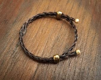 Adjustable Horse Hair Bracelet with Brass Beads - Braided Horsehair
