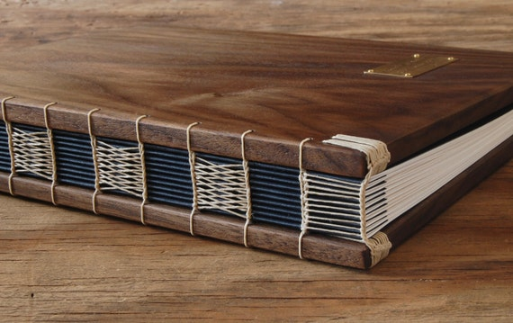 wood guest book black walnut covers  - custom wedding personalized recipe book fall wedding anniversary gift  fall - made to order