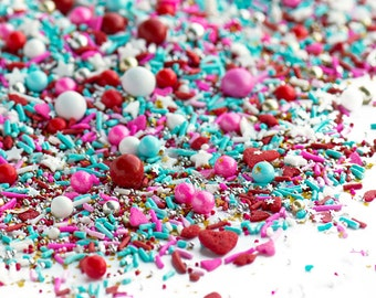 LOVE AFFAIR Twinkle Sprinkle Medley, Valentine's, Pink and Gold, Turquoise, Silver, Gold, Canadian Sprinkles