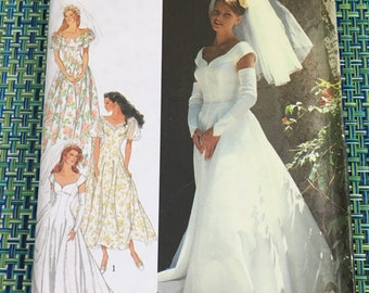 1994 Style Sewing Pattern 2432 Misses Wedding Dress Gown Size 8-18  uncut- bridal gown, wedding dress, 1990s bride, sleeveless bridal gown
