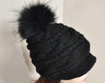 Black Pompom Beanie Visor Cap Brim Hat Pompom Beanie  Fur Pompom Hat Newsboy Hat CHOOSE COLOR Black Ski Women Hat Christmas Gift under 100