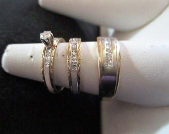1984 Ben Bridge white & yellow 14K gold with Dimonds Wedding set total grams 10.674