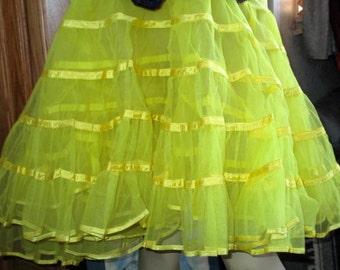 Bright Yellow Very full Vintage Crinoline Slip/Petticoat