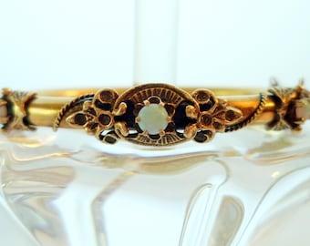 Antique 14K Solid YG 3 Genuine Opals Victorian Wedding Bracelet